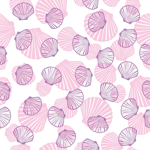 Hand drawn  illustrations - seamless pattern of seashells. marine background. Premium Vector