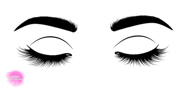 Hand-drawn image of closed eyes Premium Vector