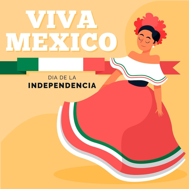 Hand drawn independence day of mexico Free Vector