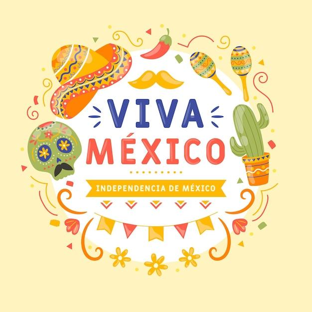 Hand drawn independencia de méxico Free Vector