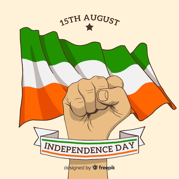 Hand drawn india independence day background Free Vector