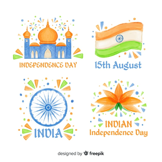 Hand drawn india independence day badge collection Free Vector