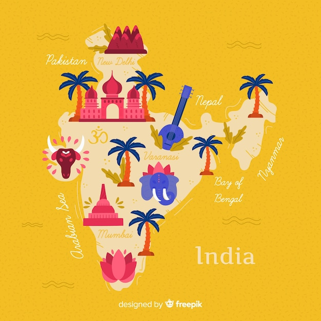 Hand drawn india map background Free Vector