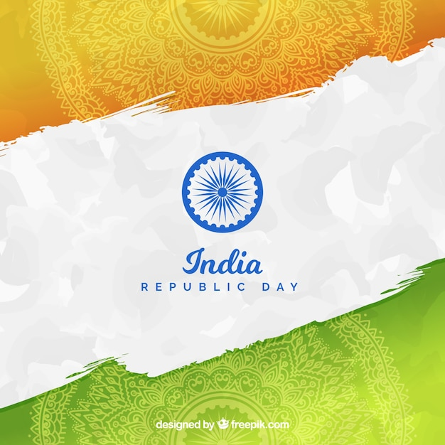Hand drawn india republic day background  Free Vector