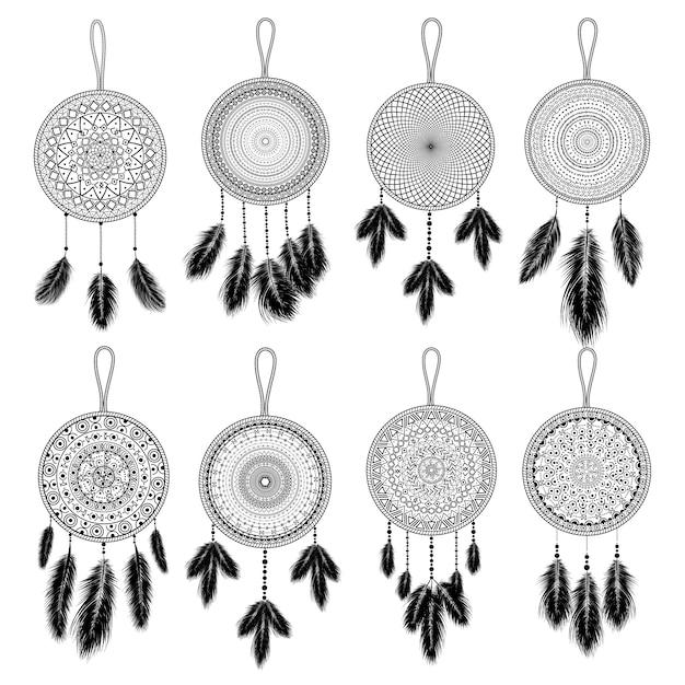 手描きの羽を持つインドのドリームキャッチャー。エスニックなデザイン、自由奔放に生きるシックな部族のシンボル。 Premiumベクター