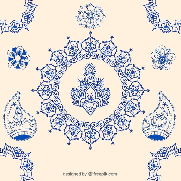 Hand drawn indian ornaments Free Vector