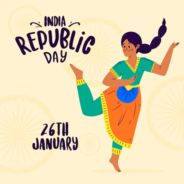Hand drawn indian republic day concept Free Vector