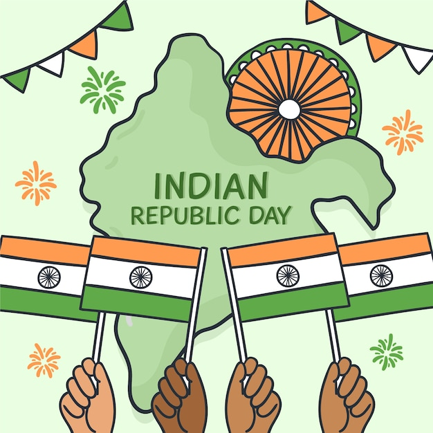 Hand drawn indian republic day with map and flags Free Vector