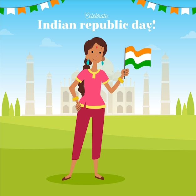 Hand drawn indian republic day Free Vector