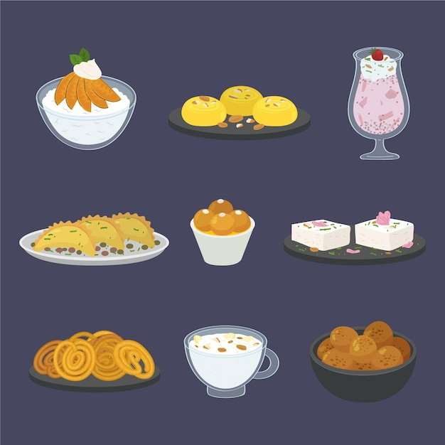 Hand drawn indian sweet collection Free Vector