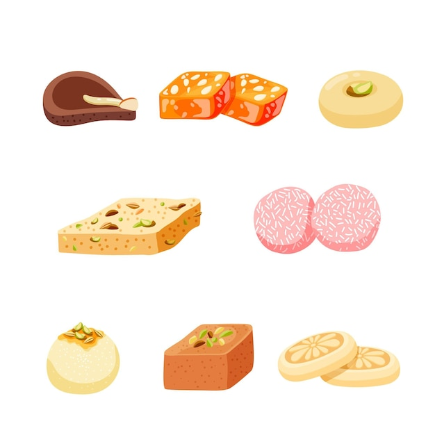 Hand drawn indian sweets collection Free Vector