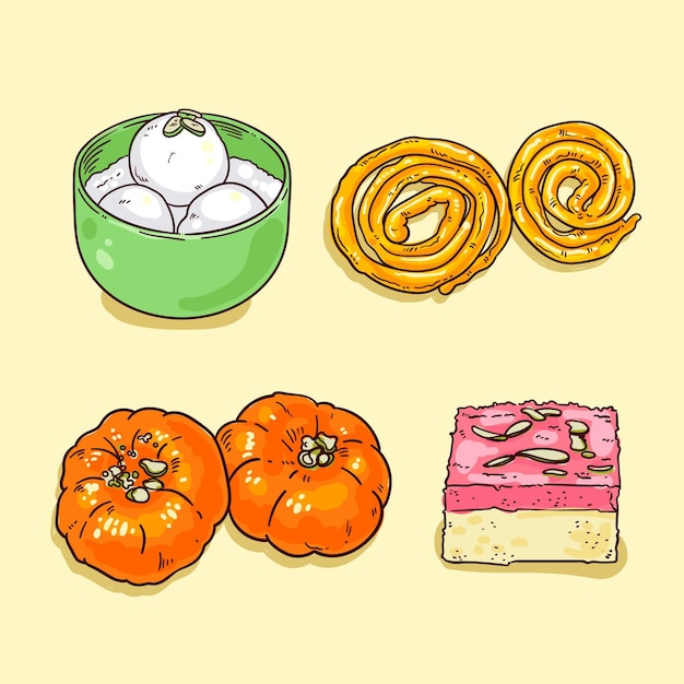 Hand drawn indian sweets Free Vector
