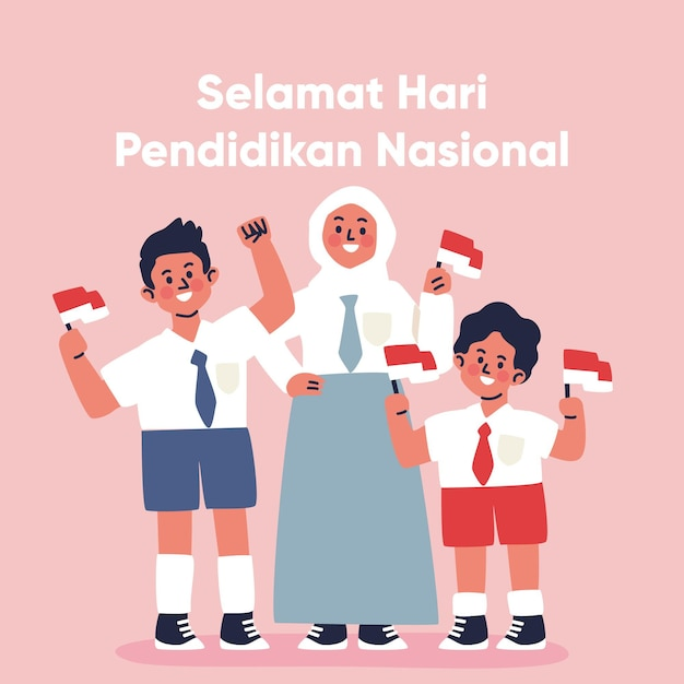 Hand drawn indonesian national education day illustration Free Vector