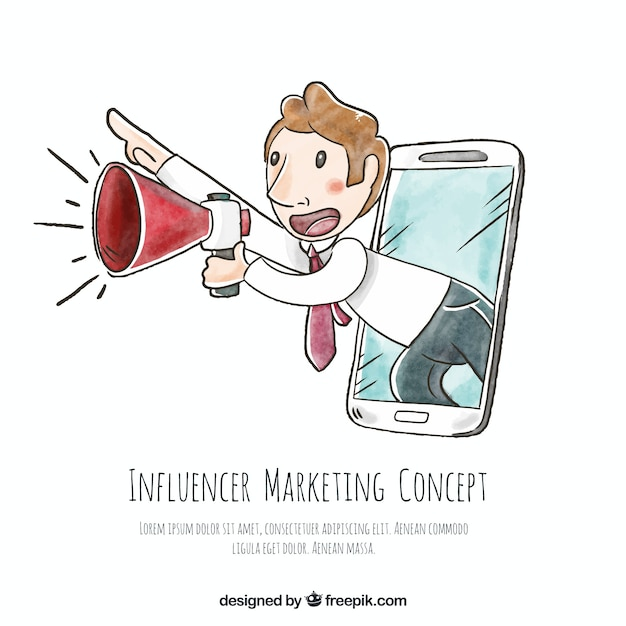 Hand drawn influencer marketing vector with man Free Vector