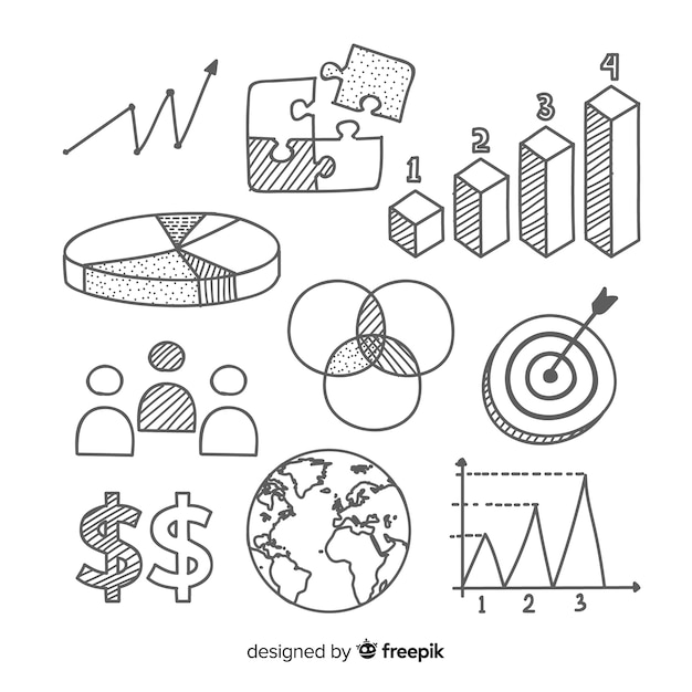Hand drawn infographic element collection Free Vector