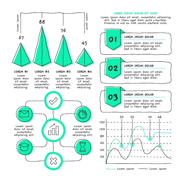 Hand drawn infographic element pack Free Vector