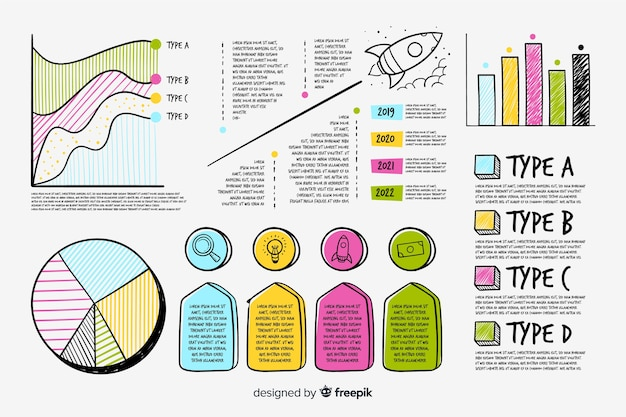Hand drawn infographic element set Free Vector