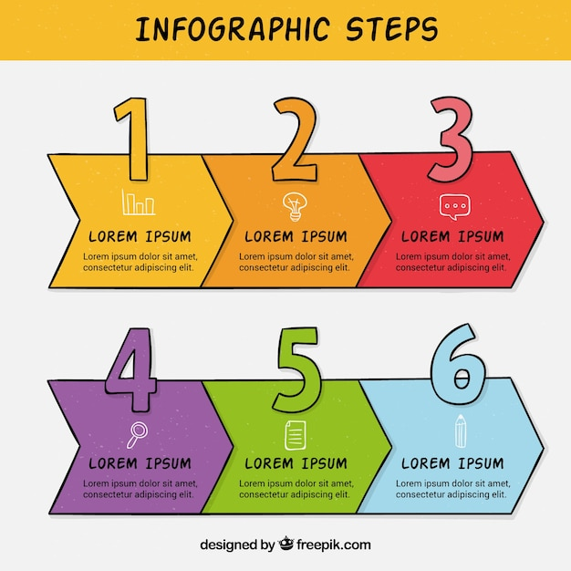Hand drawn infographic template with steps