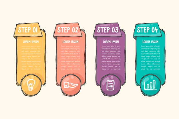 Hand drawn infographic template Free Vector