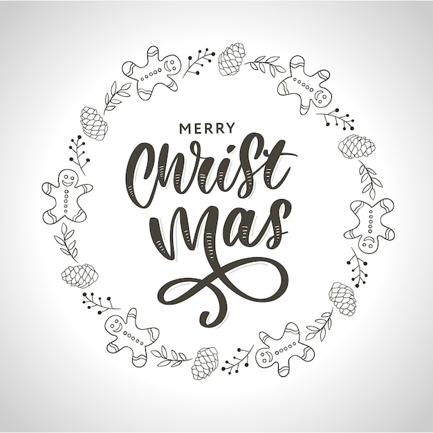 Hand drawn ink christmas wreath with bump, fir branches, christmas decorations. Premium Vector