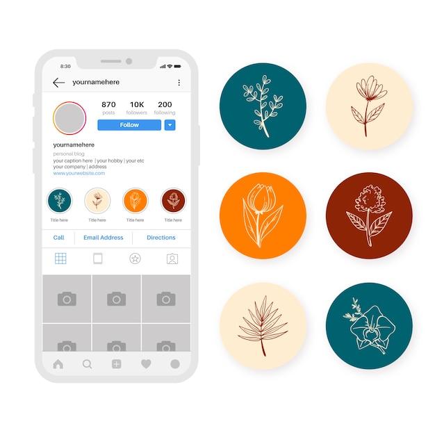 손으로 그린 instagram 꽃 이야기 하이라이트 세트 무료 벡터