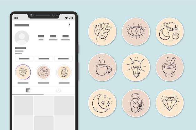 Collezione di highlight di instagram disegnati a mano Vettore gratuito