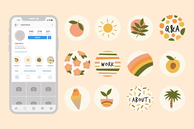 Hand drawn instagram highlights set Free Vector