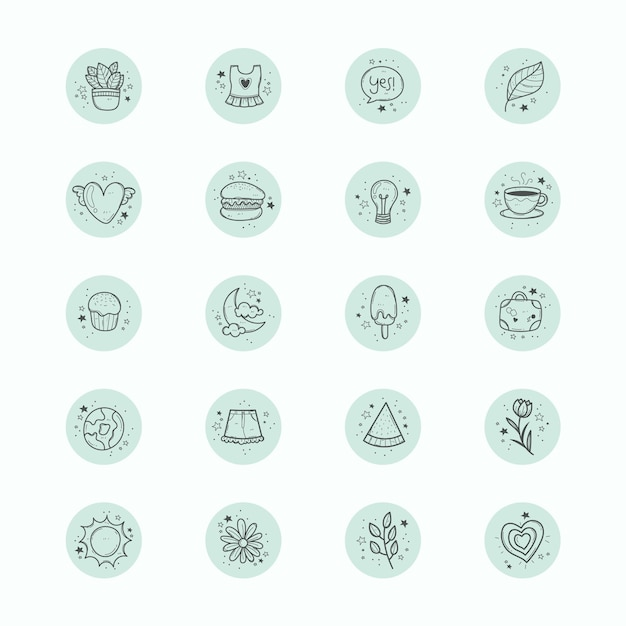 手描きのinstagramのハイライト Premiumベクター