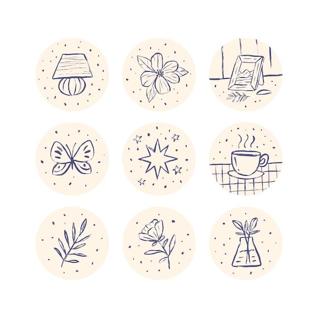 Punti salienti di instagram disegnati a mano Vettore gratuito