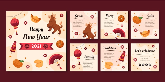 Hand-drawn instagram posts collection for chinese new year Free Vector