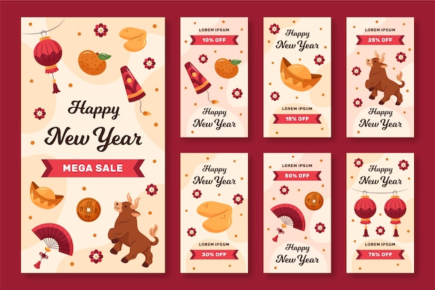 Hand-drawn instagram stories collection for chinese new year Free Vector