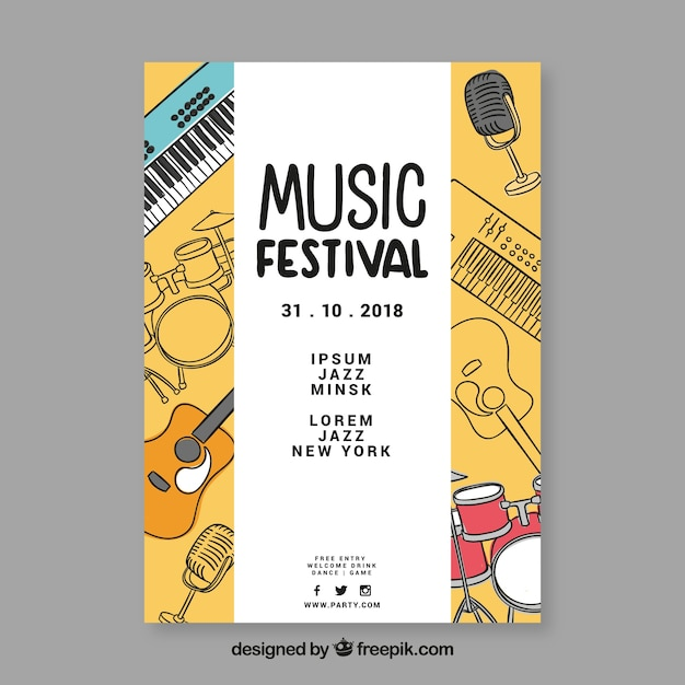 Hand drawn instruments music festival poster Free Vector