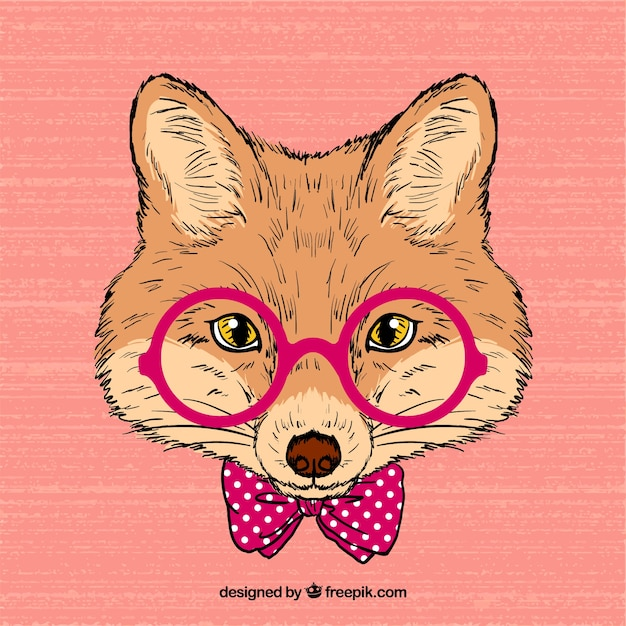Hand drawn intellectual fox Free Vector