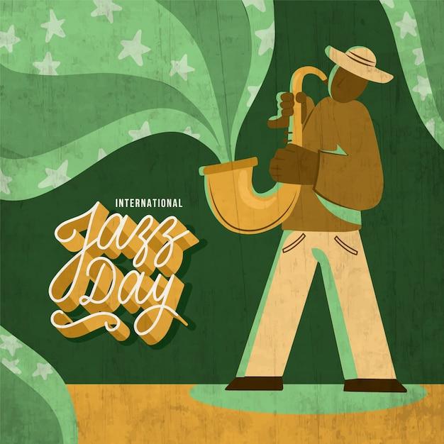 Нарисованный от руки международный день джаза Бесплатные векторы