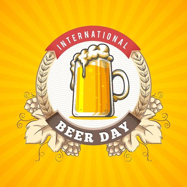 Нарисованная рукой концепция международного дня пива Бесплатные векторы