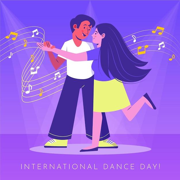 부부와 함께 손으로 그린 국제 댄스 데이 그림 프리미엄 벡터