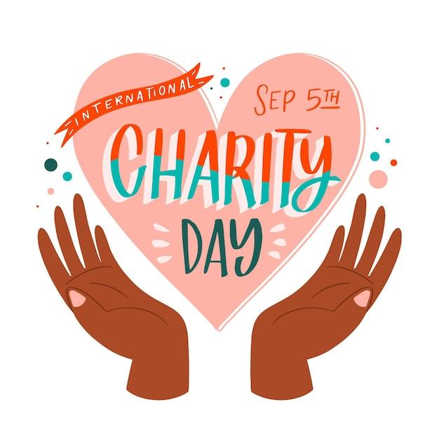 Giorno internazionale disegnato a mano della priorità bassa di carità con cuore Vettore gratuito