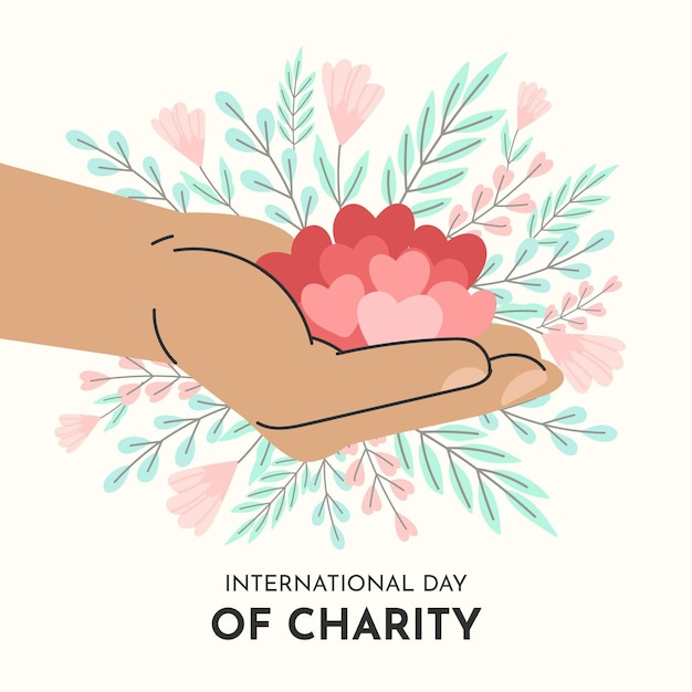 Hand drawn international day of charity background Free Vector