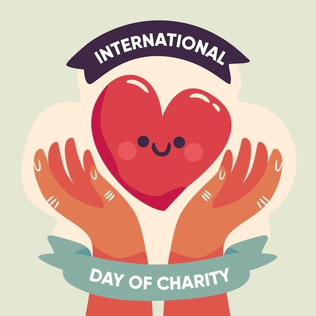 Giorno internazionale disegnato a mano del concetto di carità Vettore gratuito