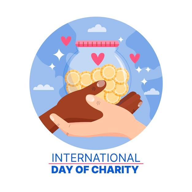 Giornata internazionale della carità disegnata a mano Vettore gratuito