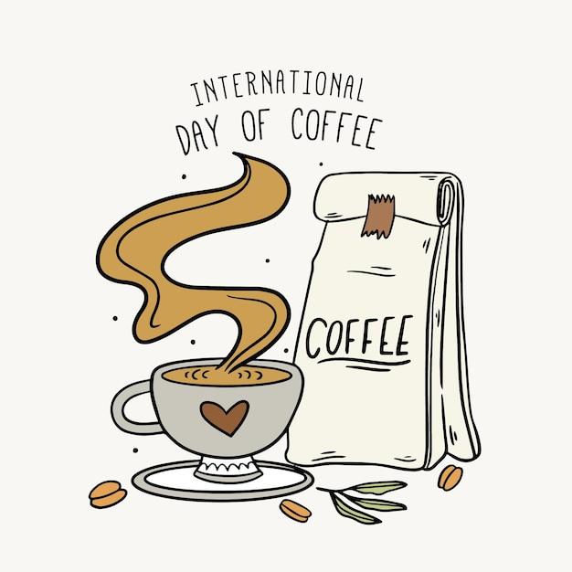 Hand drawn international day of coffee Premium Vector