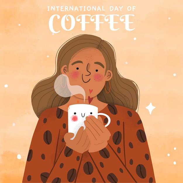 Giornata internazionale del caffè disegnata a mano Vettore gratuito