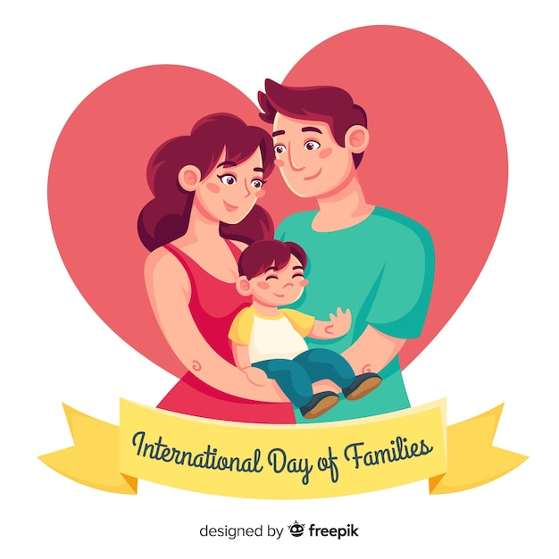 Hand drawn international day of families background Free Vector