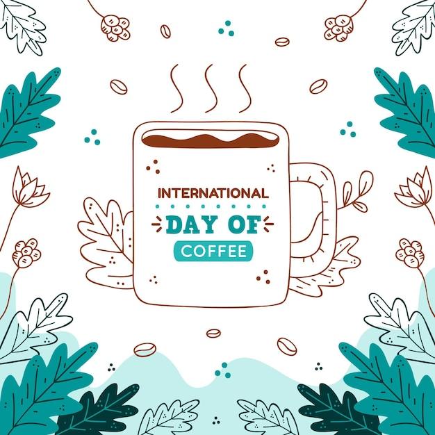 Нарисованная рукой иллюстрация события международного дня кофе Бесплатные векторы