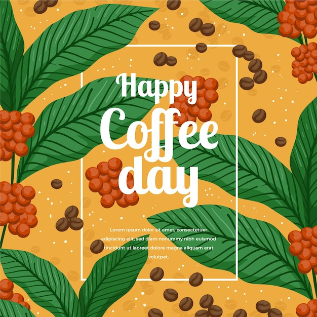 手描きのコーヒーイラストの国際デー 無料ベクター