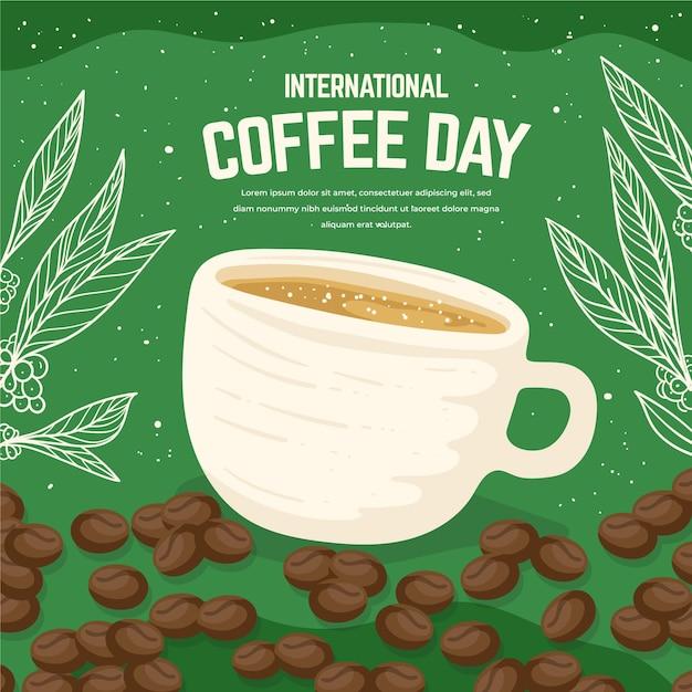 Ручной обращается международный день кофе Бесплатные векторы