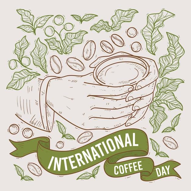 手描きのコーヒーの国際デー 無料ベクター