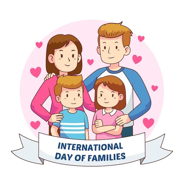 가족의 손으로 그린 국제 날 무료 벡터