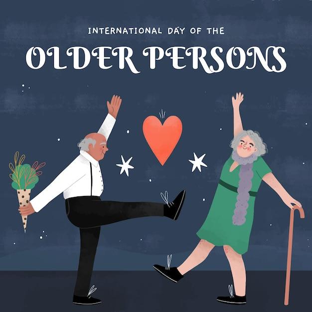 Ручной обращается международный день пожилых людей Бесплатные векторы