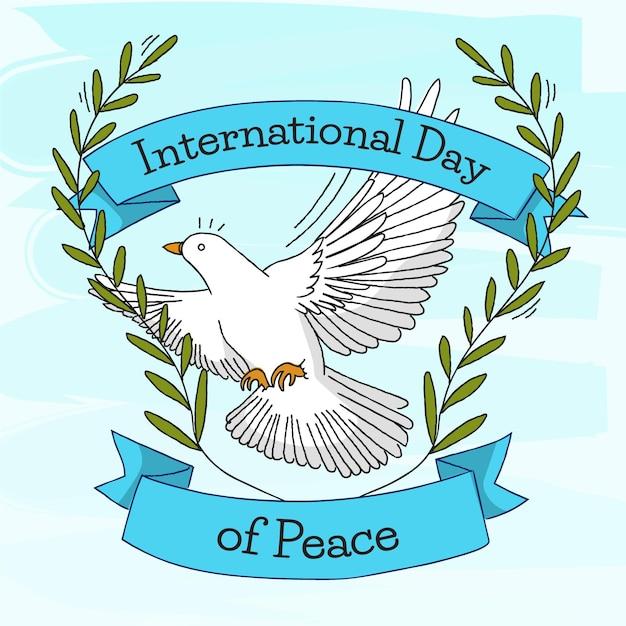 手描きの平和概念の国際デー 無料ベクター